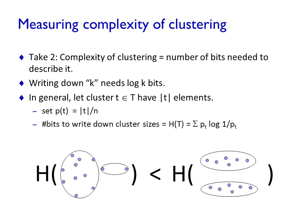 Measuring complexity of clustering