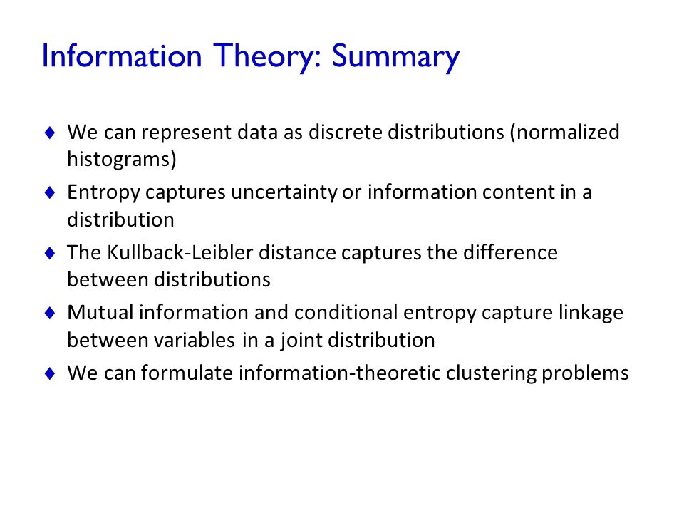 Information Theory: Summary