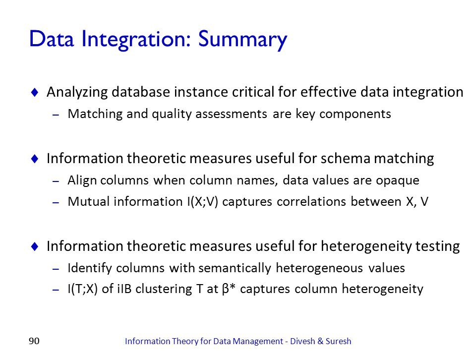 Data Integration: Summary