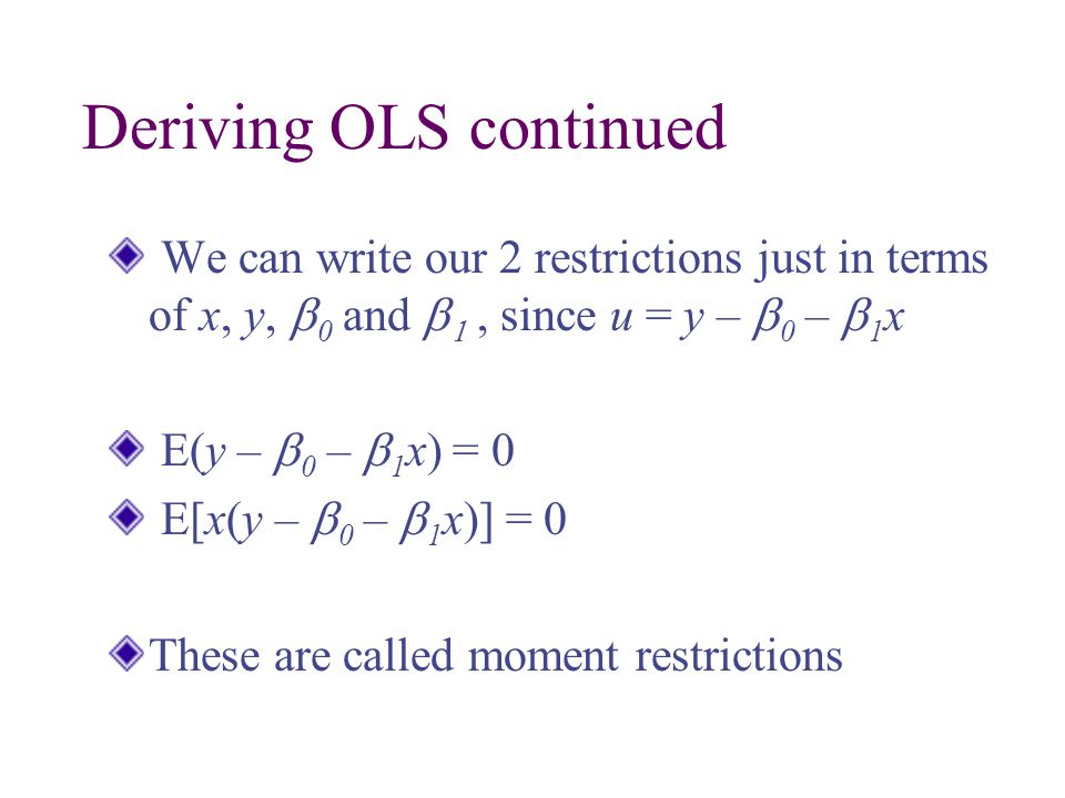 Deriving OLS continued