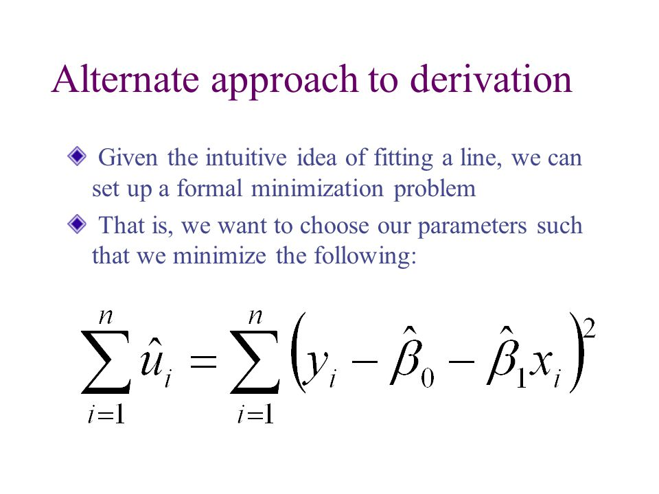 Alternate approach to derivation