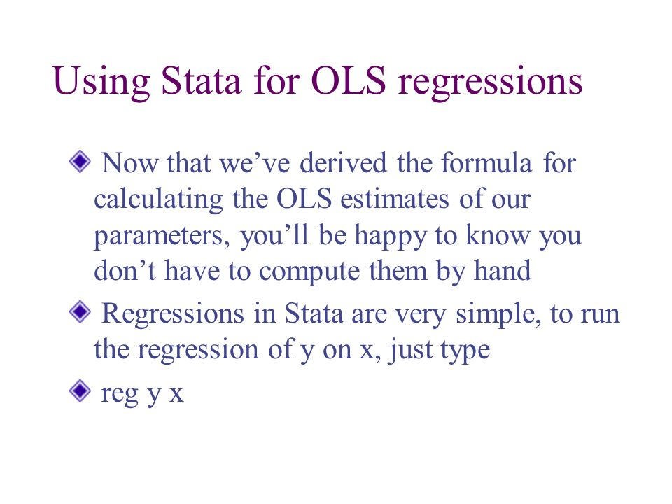 Using Stata for OLS regressions