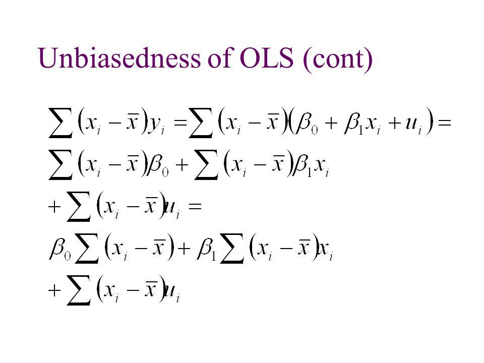 Unbiasedness of OLS (cont)
