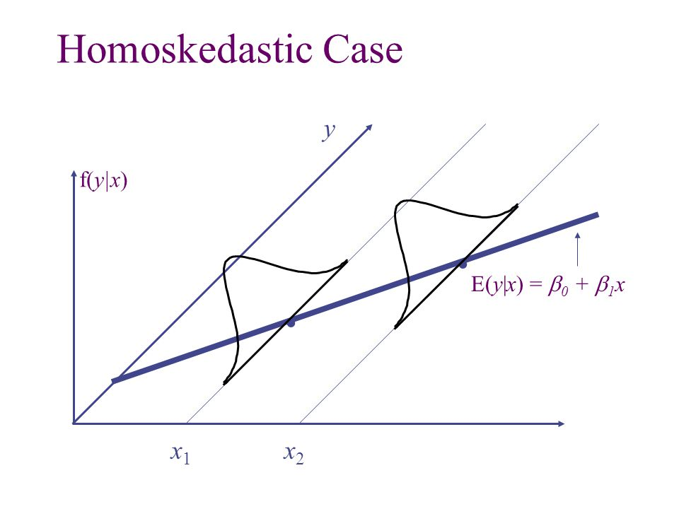 Homoskedastic Case y f(y x) . E(y x) = b0 + b1x . x1 x2