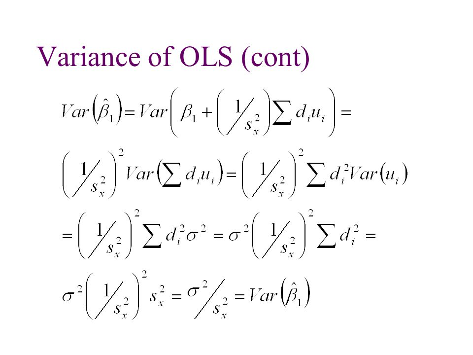 Variance of OLS (cont)