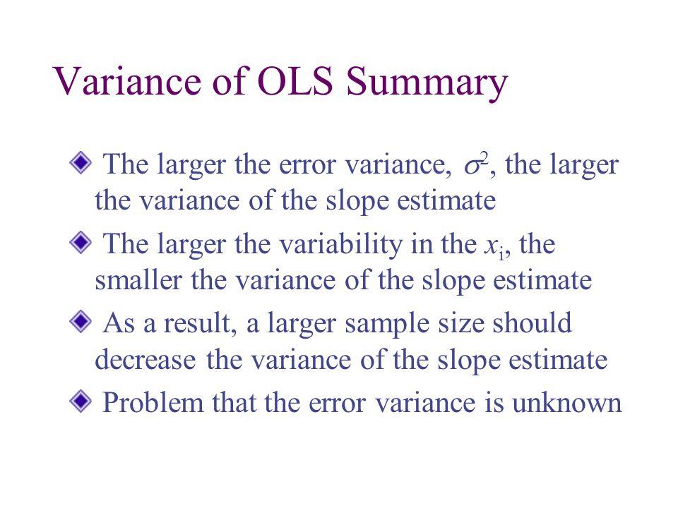 Variance of OLS Summary