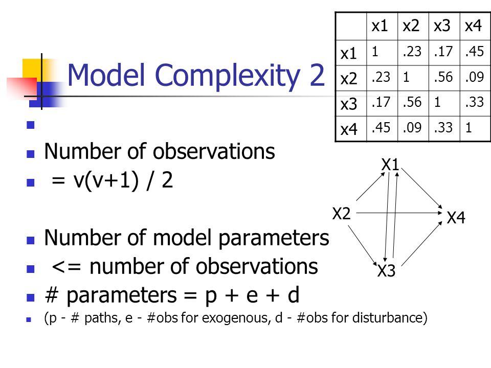 Model Complexity 2 Number of observations = v(v+1) / 2