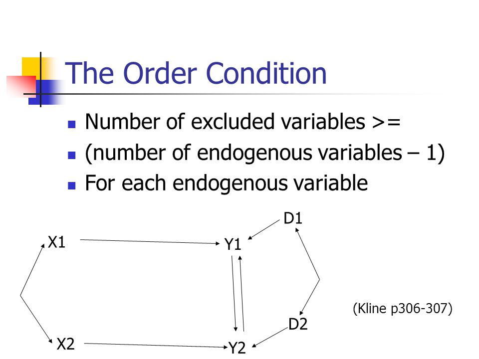 The Order Condition Number of excluded variables >=