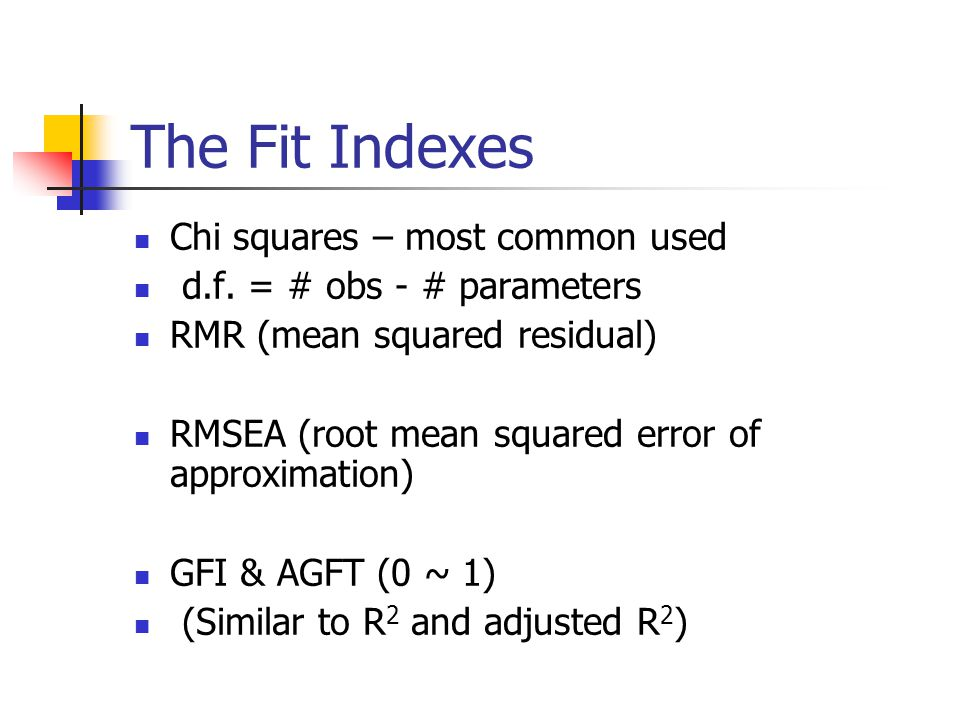 The Fit Indexes Chi squares – most common used