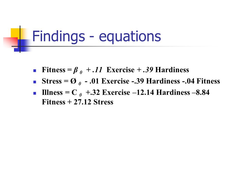 Findings - equations Fitness = β 0 + .11 Exercise + .39 Hardiness