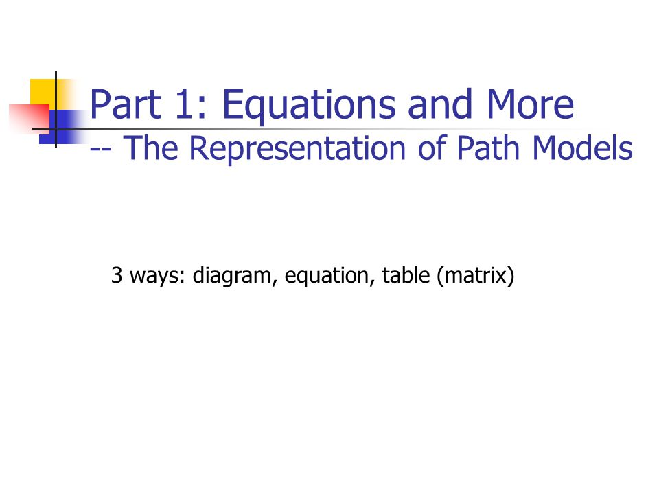 Part 1: Equations and More -- The Representation of Path Models