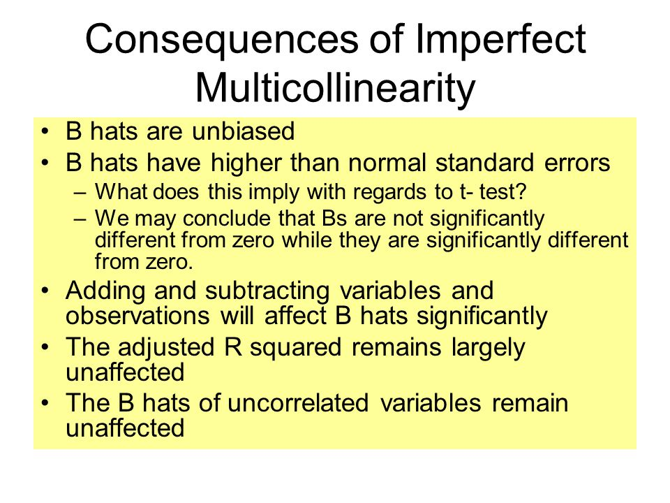 Consequences of Imperfect Multicollinearity