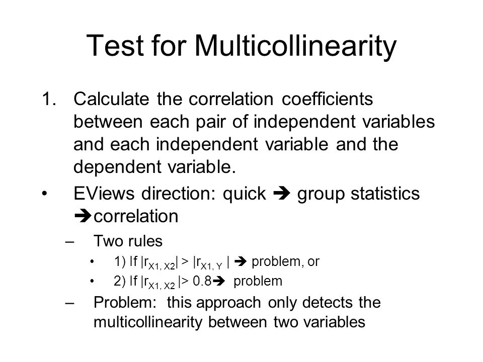 Test for Multicollinearity