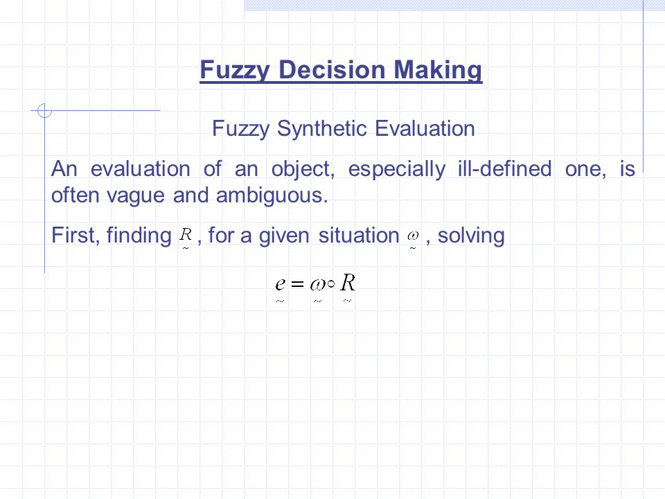Fuzzy Synthetic Evaluation