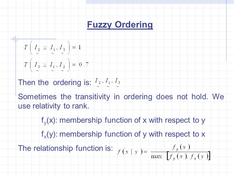 Fuzzy Ordering Then the ordering is: