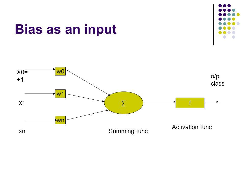 Bias as an input X0= +1 w0 o/p class w1 ∑ x1 f wn Activation func xn