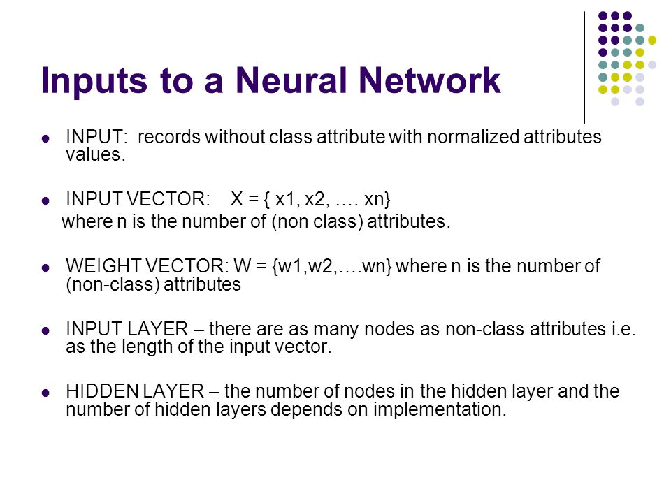 Inputs to a Neural Network