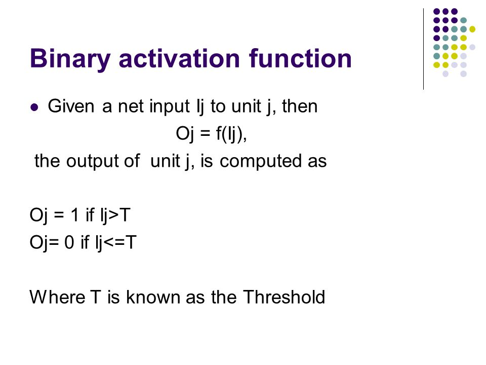 Binary activation function