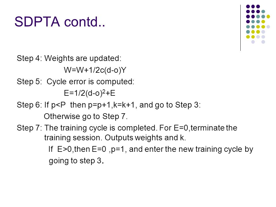 SDPTA contd.. Step 4: Weights are updated: W=W+1/2c(d-o)Y