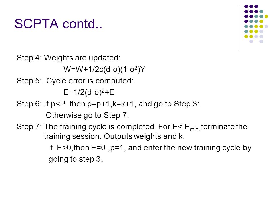SCPTA contd.. Step 4: Weights are updated: W=W+1/2c(d-o)(1-o2)Y