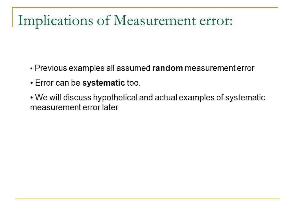Implications of Measurement error: