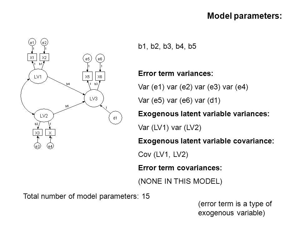Model parameters: b1, b2, b3, b4, b5 Error term variances: