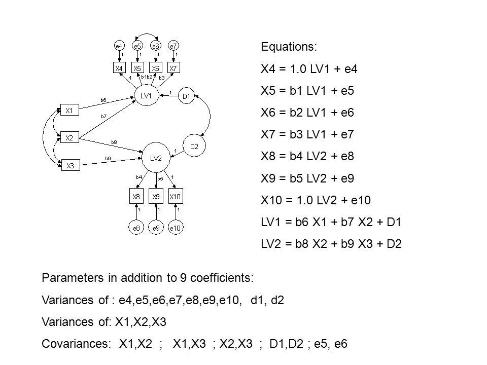 Equations: X4 = 1.0 LV1 + e4. X5 = b1 LV1 + e5. X6 = b2 LV1 + e6. X7 = b3 LV1 + e7. X8 = b4 LV2 + e8.