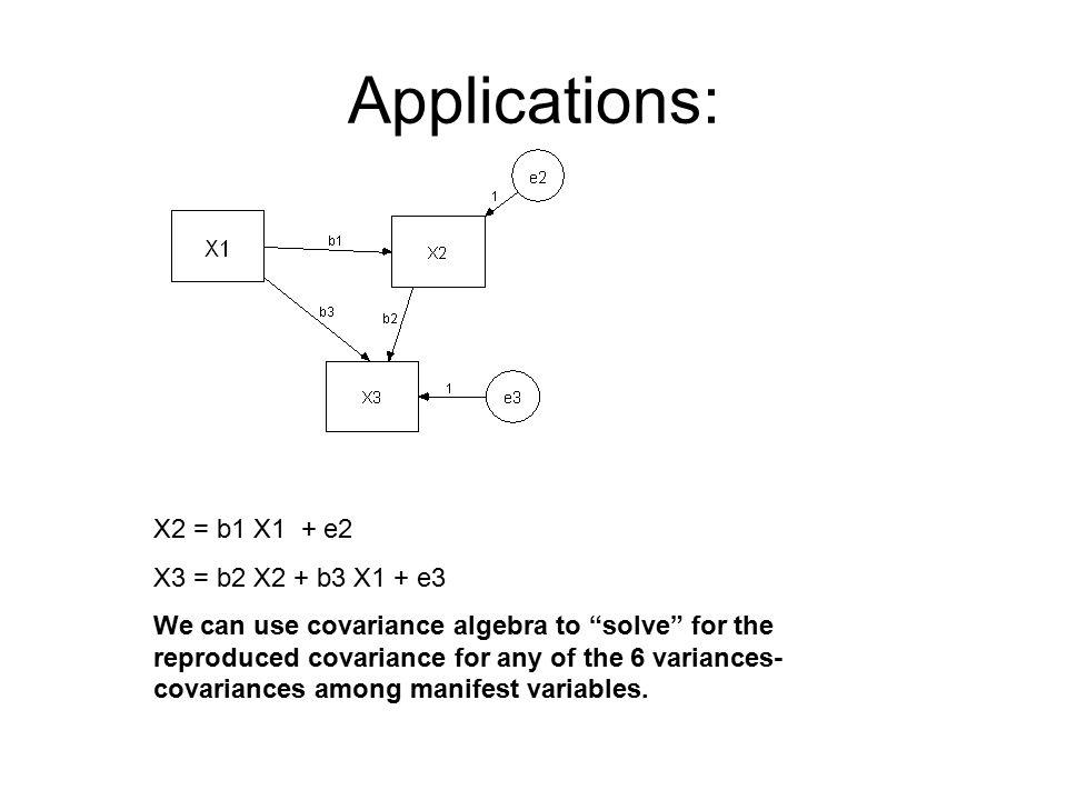 Applications: X2 = b1 X1 + e2 X3 = b2 X2 + b3 X1 + e3