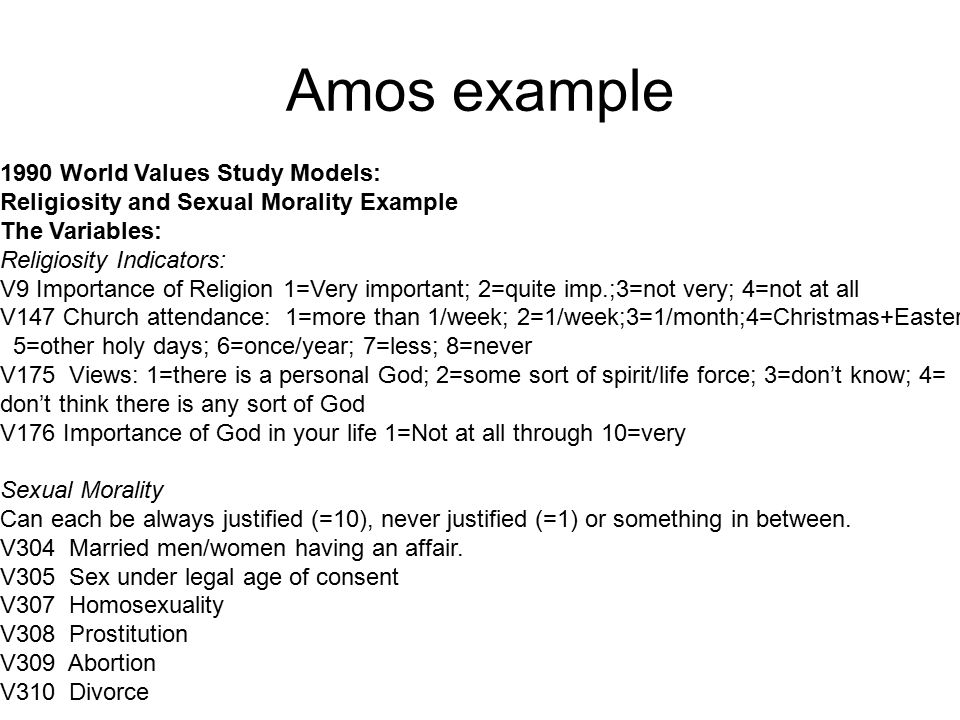Amos example 1990 World Values Study Models:
