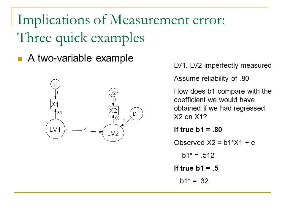 Implications of Measurement error: Three quick examples
