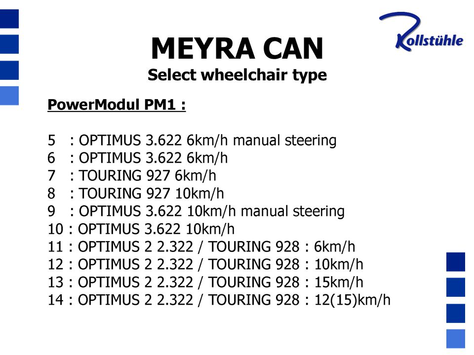 Select wheelchair type