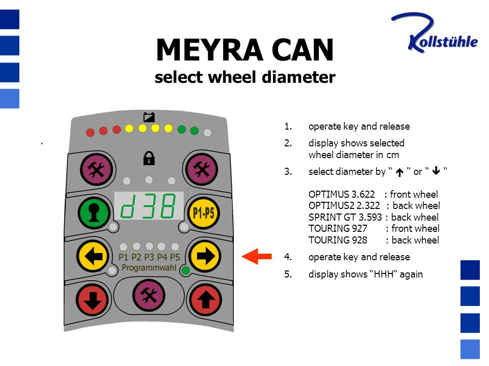 MEYRA CAN select wheel diameter operate key and release