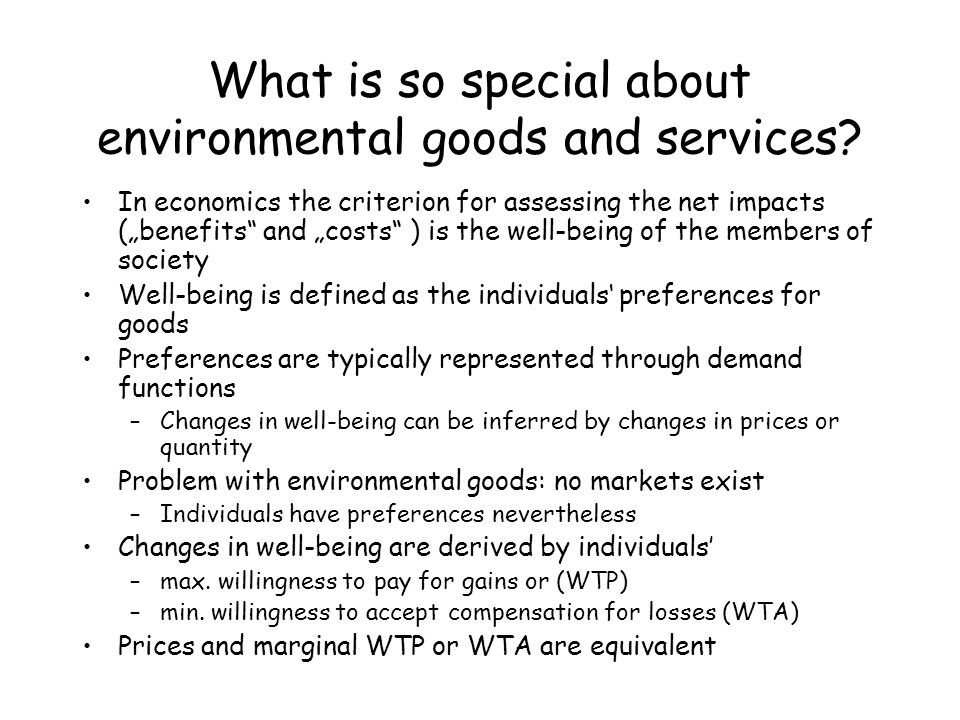 What is so special about environmental goods and services