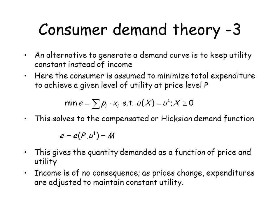 Consumer demand theory -3