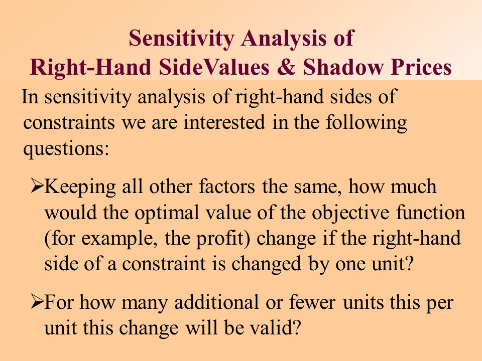 Sensitivity Analysis of Right-Hand SideValues & Shadow Prices