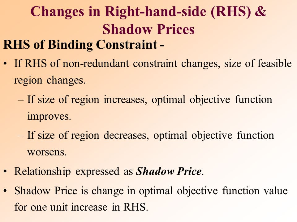 Changes in Right-hand-side (RHS) & Shadow Prices