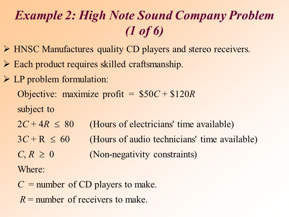 Example 2: High Note Sound Company Problem (1 of 6)