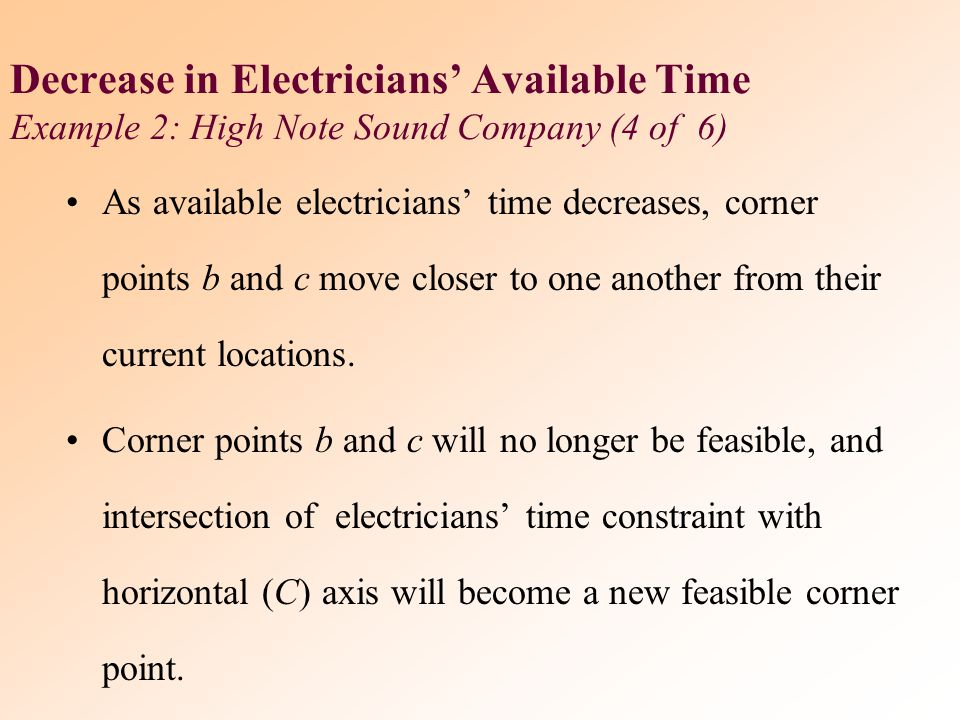 Decrease in Electricians' Available Time Example 2: High Note Sound Company (4 of 6)