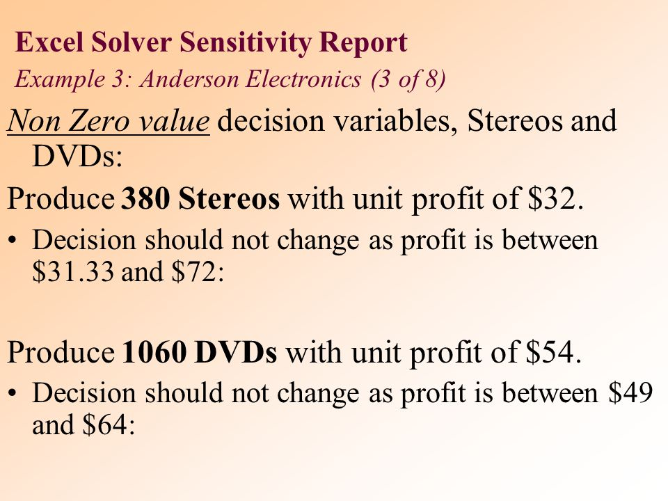 Non Zero value decision variables, Stereos and DVDs: