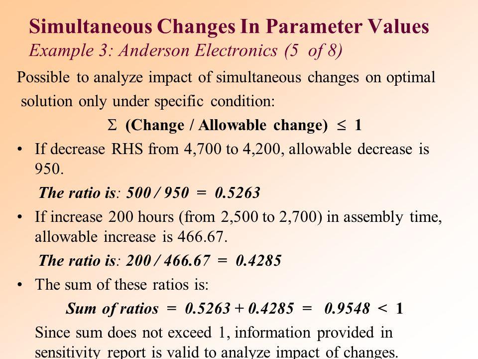 (Change / Allowable change)  1