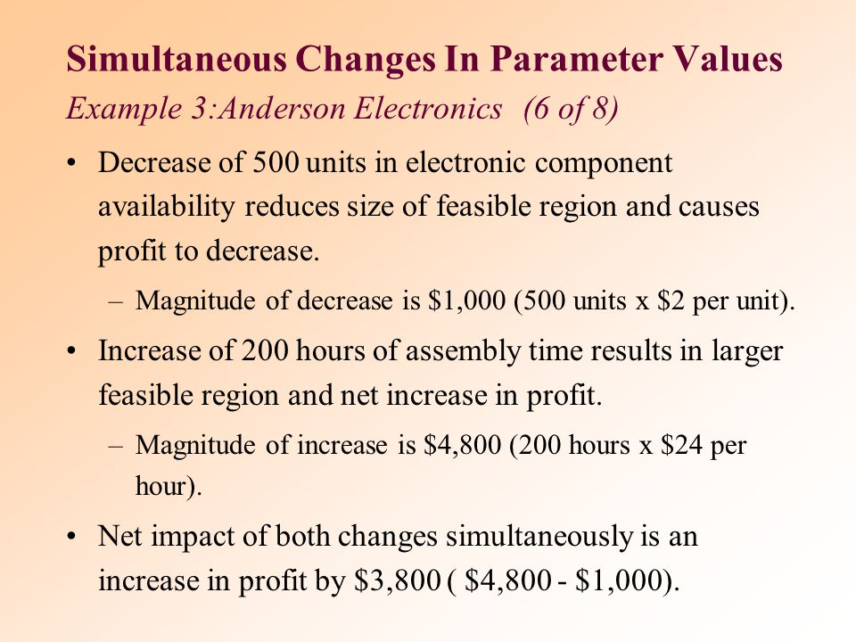 Simultaneous Changes In Parameter Values