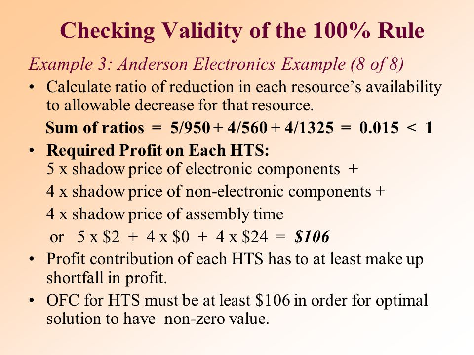 Checking Validity of the 100% Rule