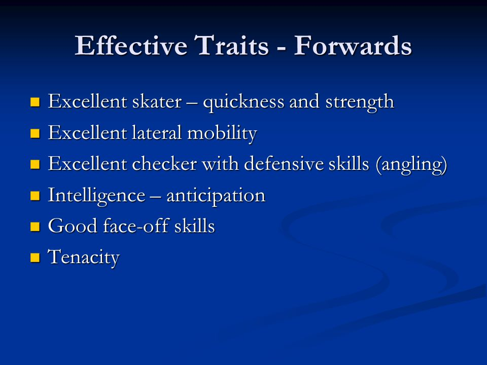 Effective Traits - Forwards