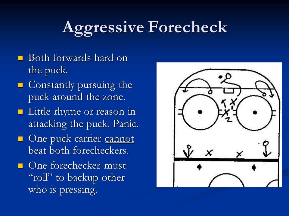 Aggressive Forecheck Both forwards hard on the puck.