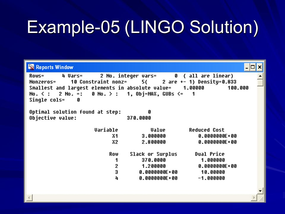 Example-05 (LINGO Solution)