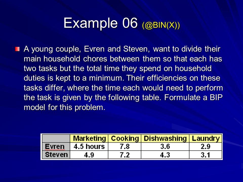 Example 06 (@BIN(X))
