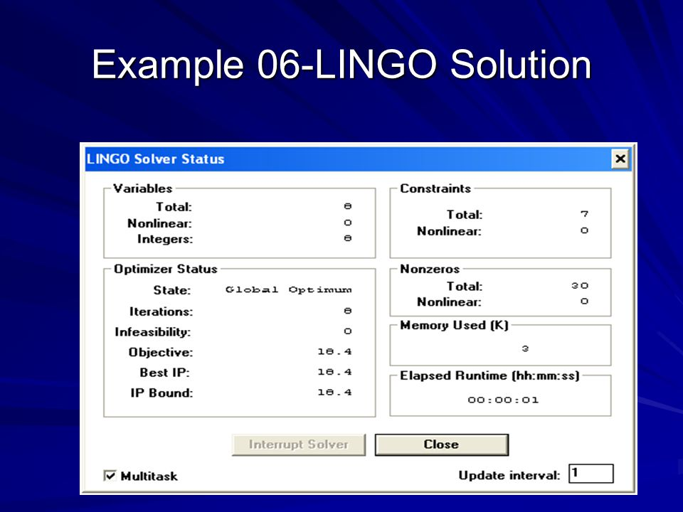 Example 06-LINGO Solution