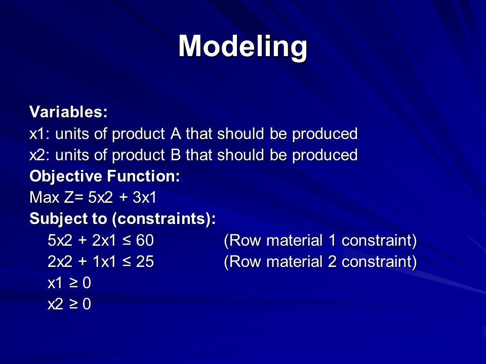 Modeling Variables: x1: units of product A that should be produced