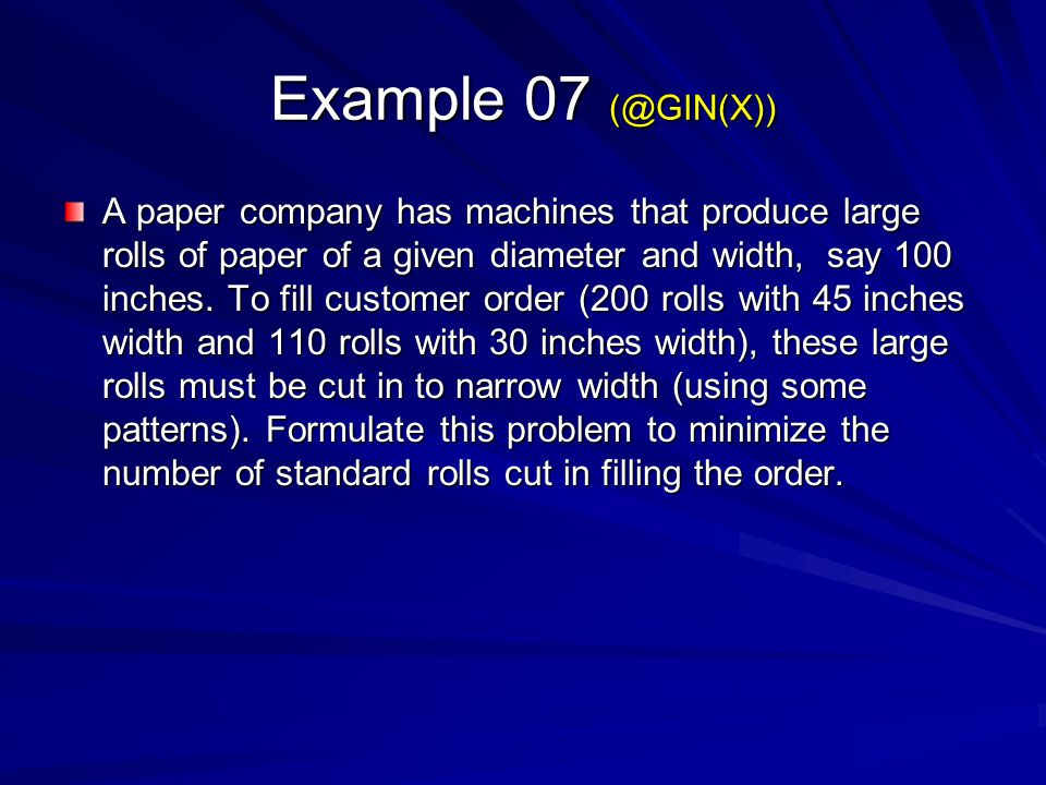 Example 07 (@GIN(X))