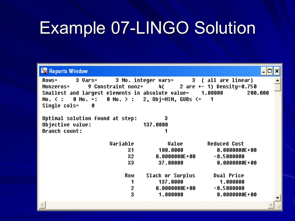 Example 07-LINGO Solution